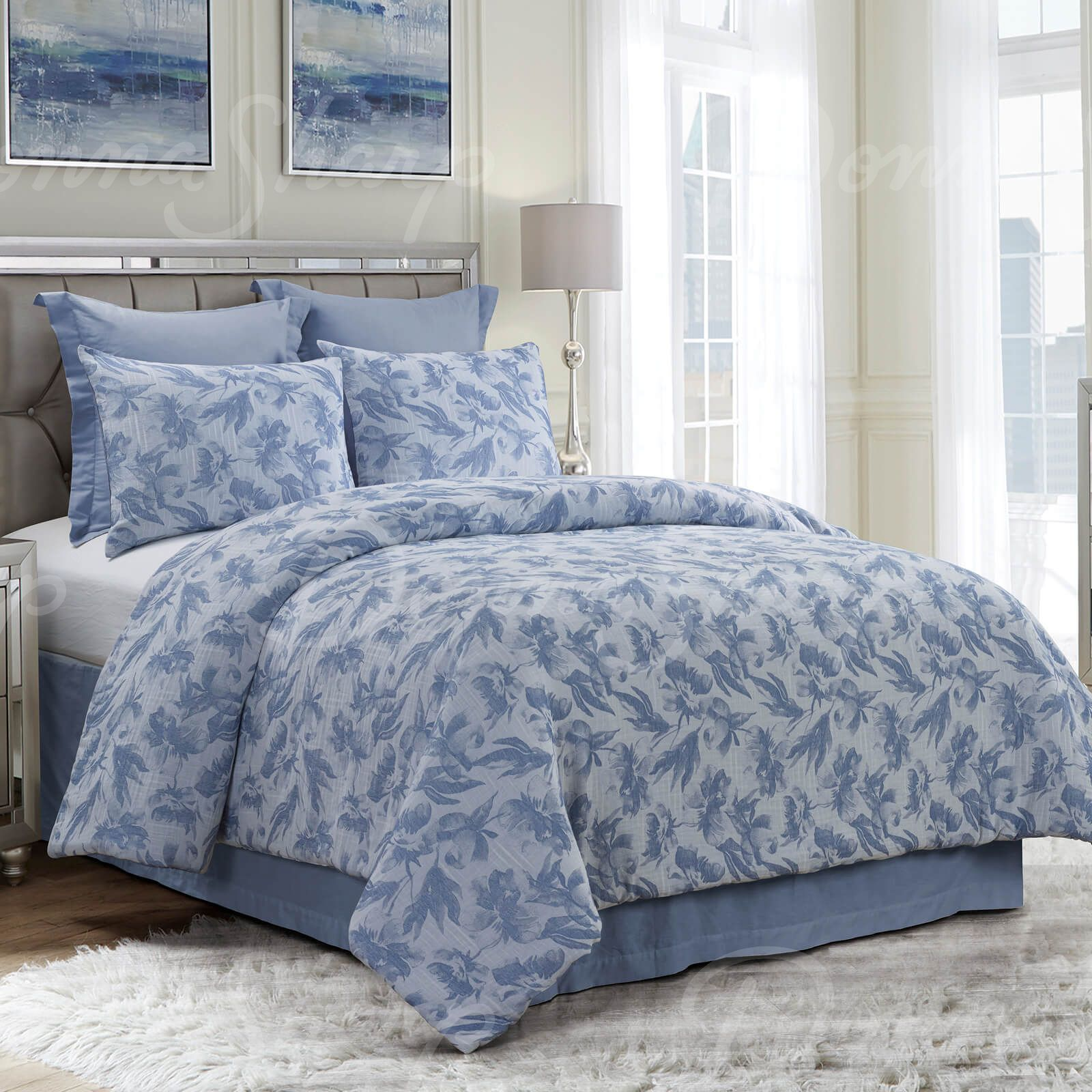 Queen Comforter Set Almaria Soft Blue